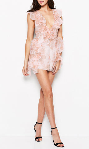 Sherbet bomb Playsuit  Peach Floral