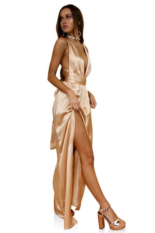 Satin Silk Champagne Multiway Gown