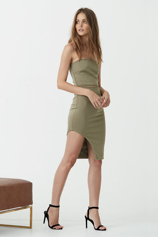 What she's having dress in Khaki