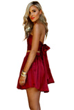 Satin Silk Raspberry Wrap Two Piece Mini
