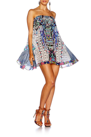 Maasai Mosh Strapless mini dress