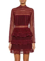 High Neck Panelled Mini in Maroon