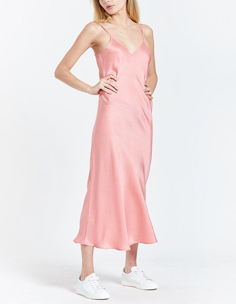 90s Silk Slip Dress- Pink