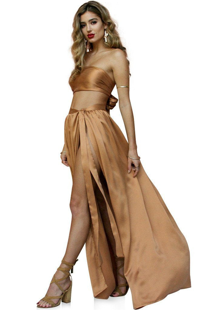 Rent Sisters The Label Sueded Silk Fox Wrap Two Piece