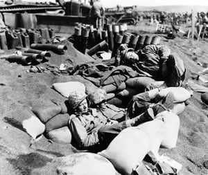 Tired After Two Weeks on Iwo Jima