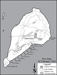 Map of Iwo Jima on D-Day