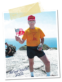 Hudson after running up Mount Suribachi, 2002