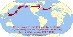 Route of Chinese labor corps