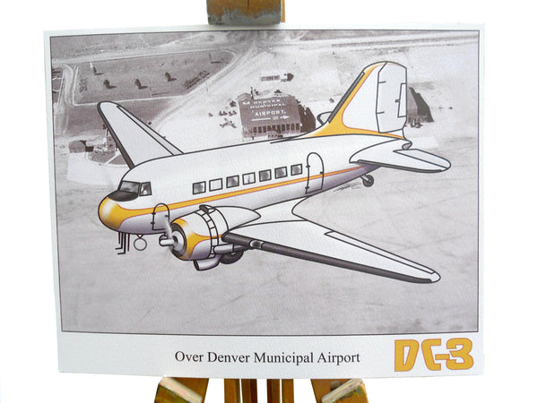 "Aviation fine art print - DC-3 ""Over Denver Municipal Airport"""