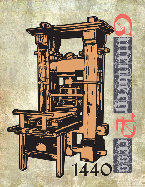 Art Print of Gutenberg Press 1440