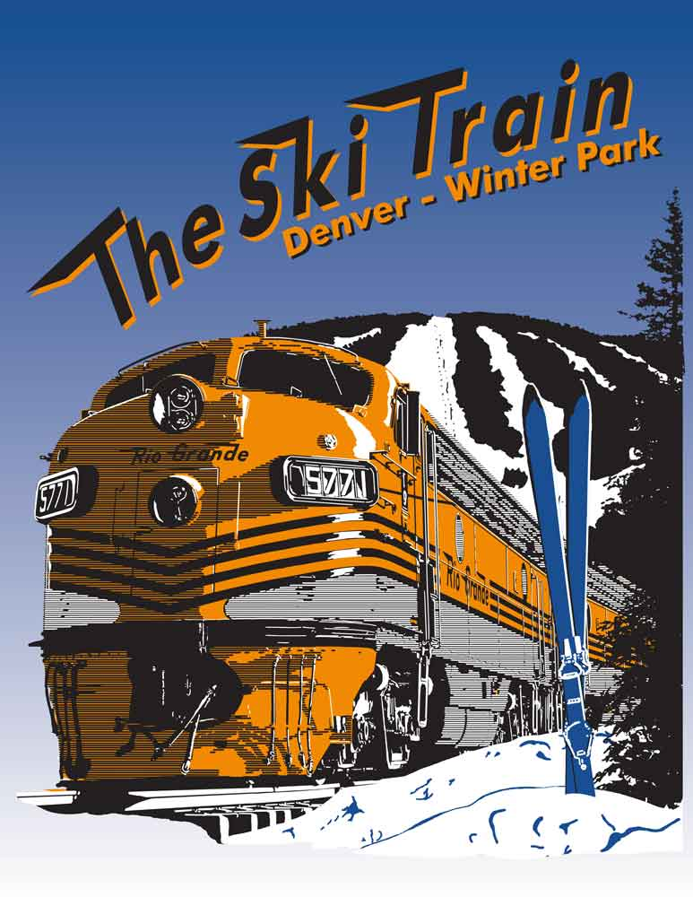 Art Print of Ski Train Denver Winter Park