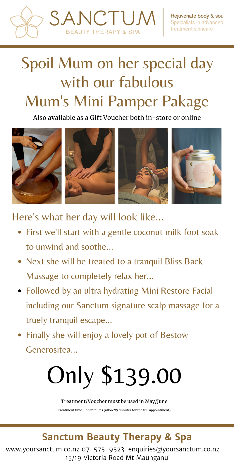 Spoil Mum on her special day with our fabulous Mum's Mini Pamper Pakage