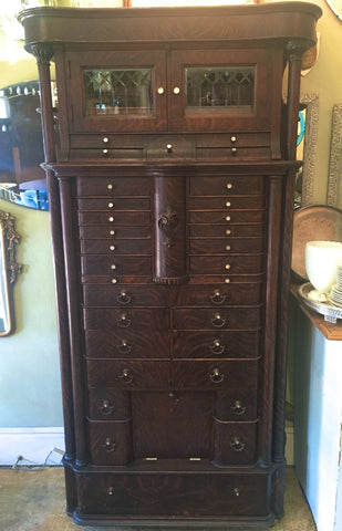 Circa 1900 Antique Oak Dental Cabinet