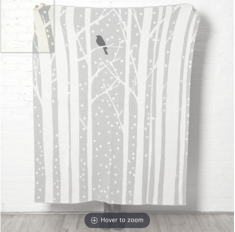 Birch Snowy Tree Throw