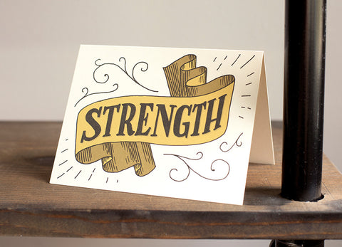 """Strength"" Hand Lettered Card"