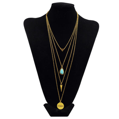 Necklace with Multi Layer Pendants, Necklace - CLICKIT2YOU