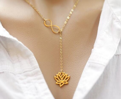Infinity Lotus Pendant Necklace, Necklace - CLICKIT2YOU