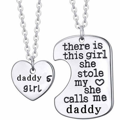 DADDY DAUGHTER Dog Tag Heart Pendant Necklace, Necklace - CLICKIT2YOU