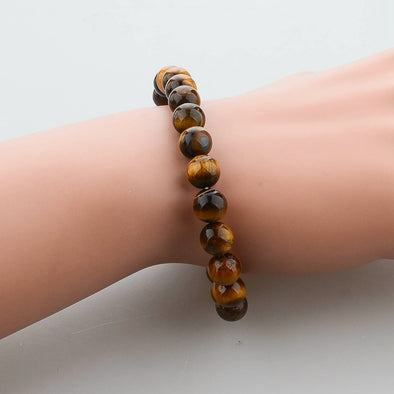 Tiger Eye Buddha Natural Stone Bracelet, Bracelet - CLICKIT2YOU