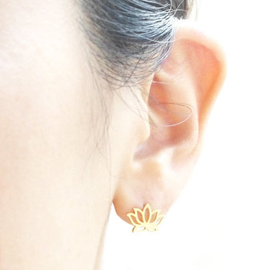 Lotus Stud Earrings, Earrings - CLICKIT2YOU