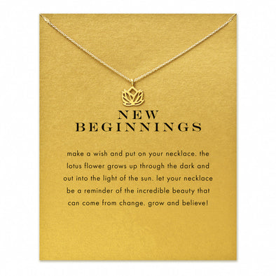 Lotus Pendant Necklace, Necklace - CLICKIT2YOU