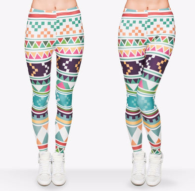 Multi Printed Leggings, Woman Leggings - CLICKIT2YOU