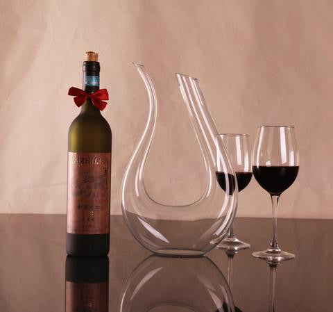 Crystal Handmade Red Wine U-shaped Decanter, Wine Pourer - CLICKIT2YOU