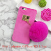 New Fuzzy Candy Color iPhone Hard Cover With Fashion Fur Ball, Phone Cover - CLICKIT2YOU