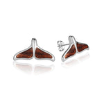 Hawaiian Jewelry Koa Wood Solid Silver Whaletail Earring