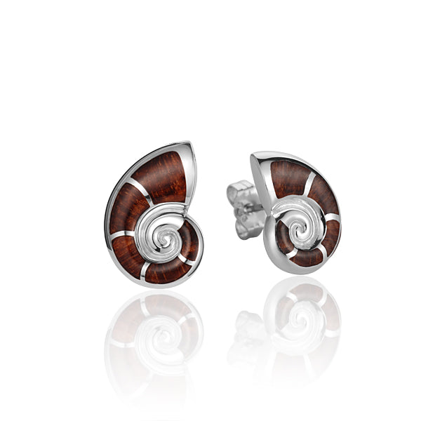 925 Sterling Silver Nautilus Shell with Koa Wood Inliad Earring Post Style