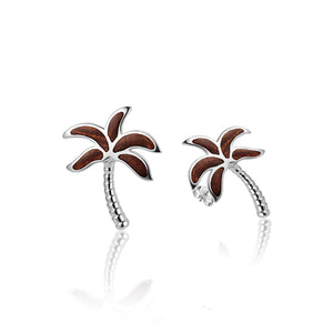 KOA Wood inlaid Sterling Silver Palm Tree Earring