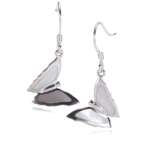 Butterfly with Mother-of-pearl Inlay Sterling Silver Hook Earring