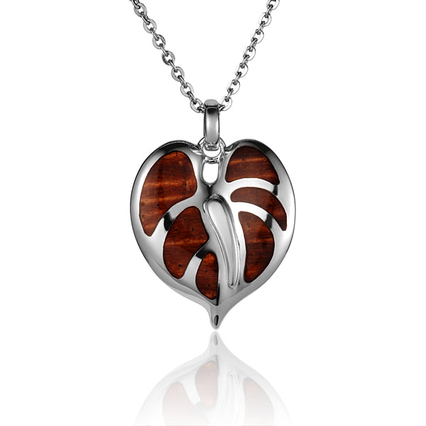 Koa Wood Inlaid Sterling Silver Anthurium Pendant