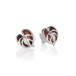 Koa Wood Inlaid Sterling Silver Anthurium Earring Post Style
