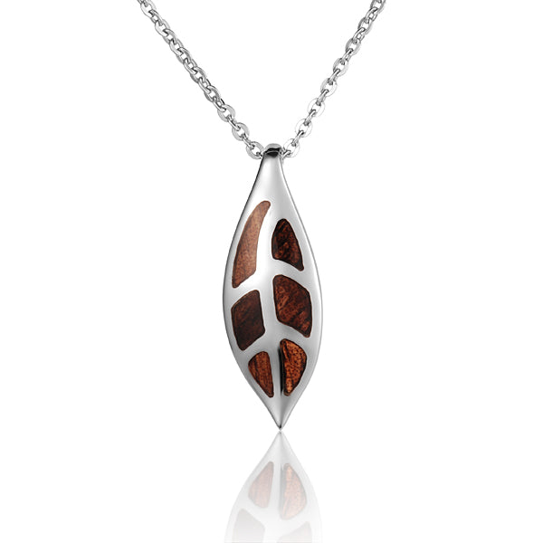 Sterling Silver Maile Leaf Koa Wood Inlaid Pendant