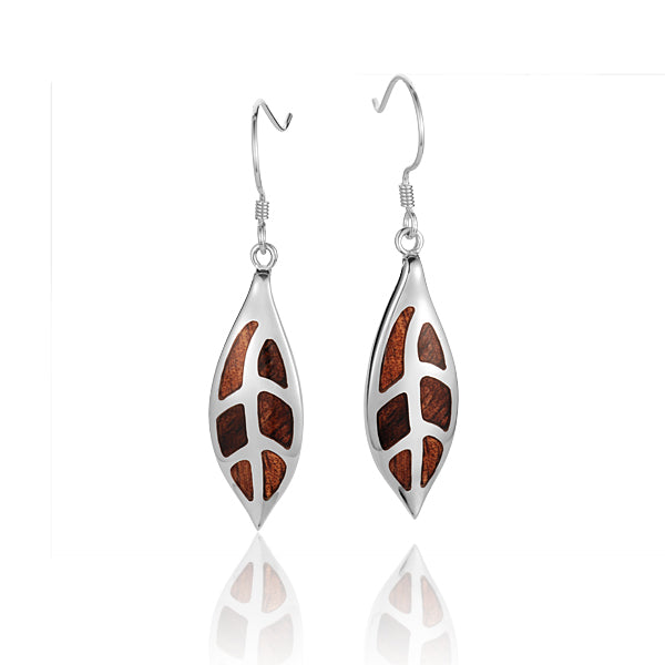 Sterling Silver Maile Leaf Koa Wood Inlaid Hook Earring