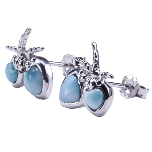 Sterling Silver Larimar Coconut Earring Post