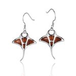 Koa Wood Inliad Sterling Silver Monta Ray Earring