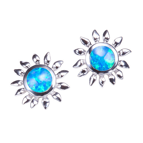 Sunflower Sterling Silver Opal Inlay Earring Post Style