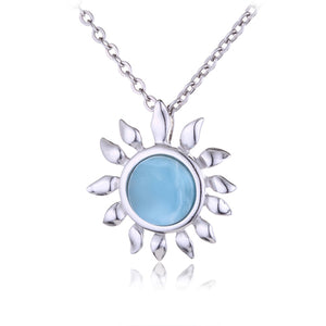 Sterling Silver Larimar Sunflower Pendant(Chain Sold Separately)