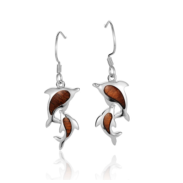 Sterling Silver Double Dolphin Koa Wood Inlaid Hook Earring