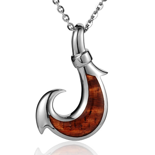925 Sterling Silver Koa Wood Inlaid Fish Hook Pendant(L)