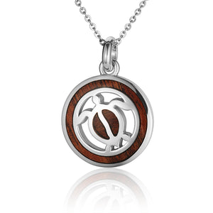 Hawaiian Jewelry Koa Wood inlaid Solid silver Honu Pendant