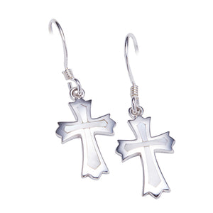 Sterling Silver Cross Hook Earring with Mother-of-pearl Inlay