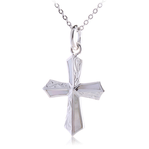 Hawaiian Scroll Engraving Cross Pendant with Mother-of-pearl Inlay(Chain sold separately)