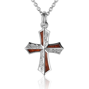 Hand-made Scrolling Hawaiian Koa Wood Inlaid Sterling Silver Cross Pendant Heavy Weight