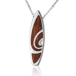 Hawaiian Jewelry Koa Wood inlaid Solid Silver Surfboard Pendant