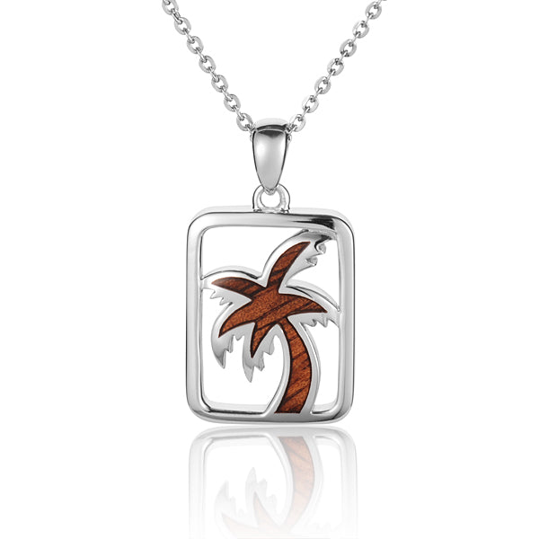 Hawaiian Jewelry Koa Wood inlaid Solid Silver Palm Tree Pendant