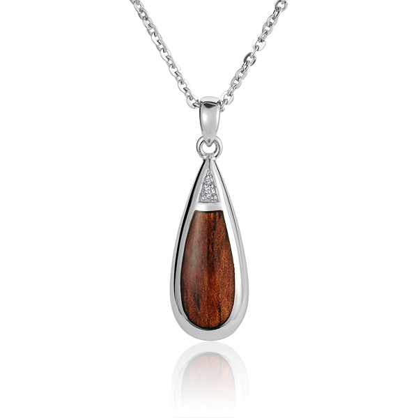 Koa Wood Inlaid Tear Drop with Two Cubic Zirconia Pendant