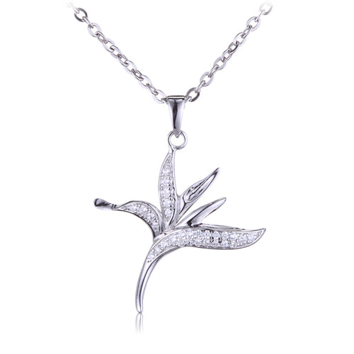 Bird of Paradise Sterling Silver Pave Cubic Zirconia Pendant(Chain Sold Separately)